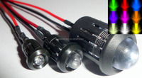10mm Prewired LED Diodes Warm White with Chrome Bezel Holder 12V 18cm