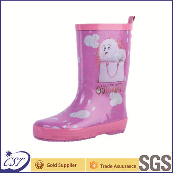 cute pink cheap kids rain boots 68057