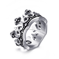 KSF Hot Sale Stainless Steel King Crown Ring Casting Ring For Cool Men