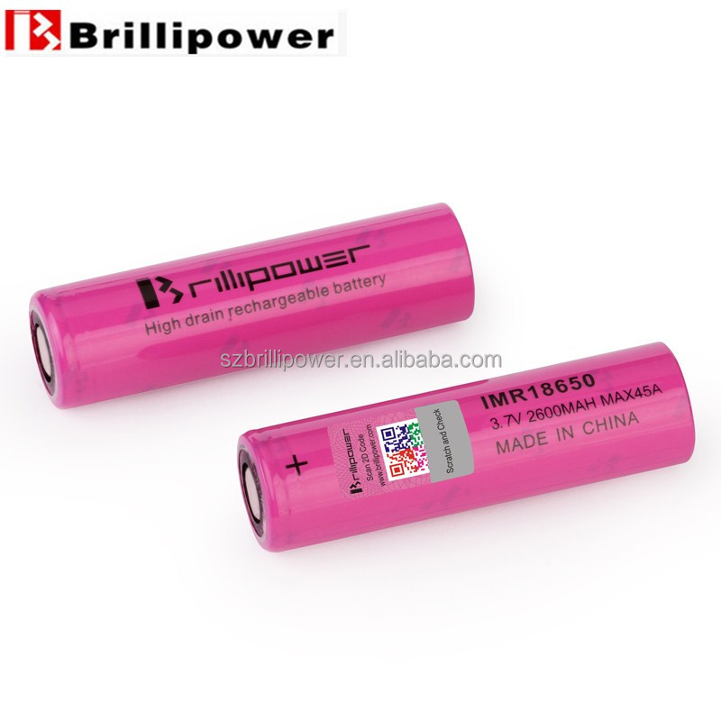 Brillipower high discharge 18650 2600mAh 45A lithium ion battery 18650 3.7v rechargebale battery