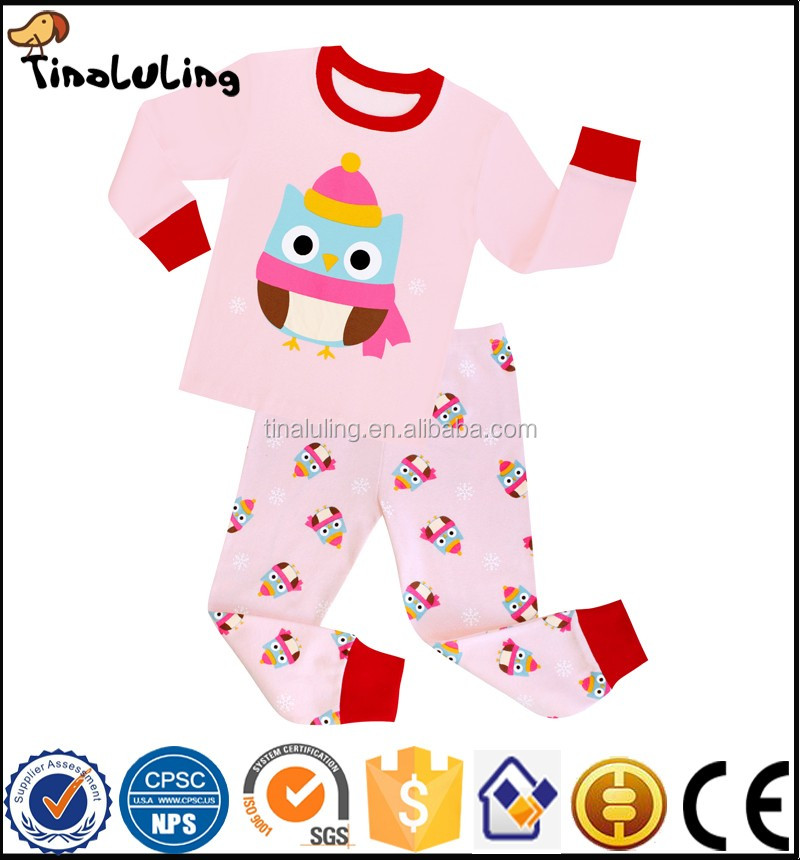 New Arrival Children Cotton Pajamas Girls Pink Owl Animal Printing ...