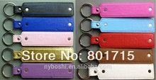 free shipping wholesales price Mix color PU Leather Key Chain with small belt could through 8mm or 10mm slide charms and letters
