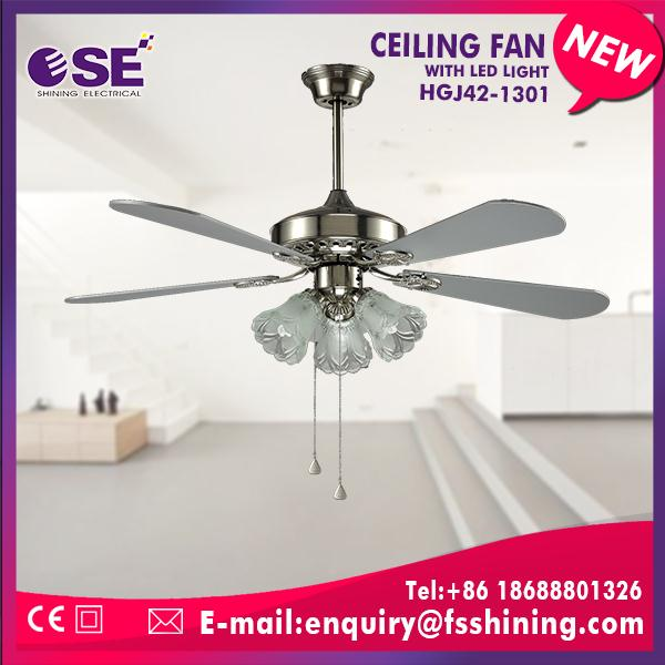 home decoration metal blade industrial electrial ceiling fan with pull control