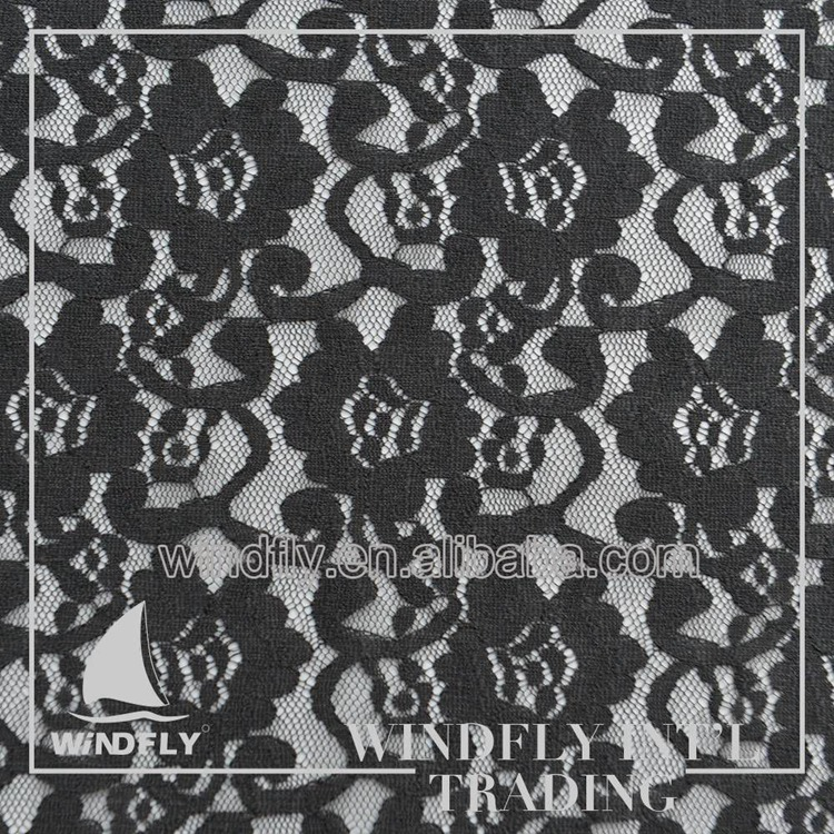 Latest Quick Lead Black Voile Raschel Lace With Watkins