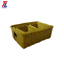 wholesales decorative recycled newspaper basket hand-made woven with cutout handle