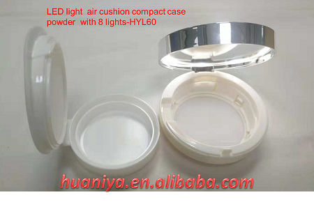 Empty Cosmetic packaging air cushion compact powder case with led light