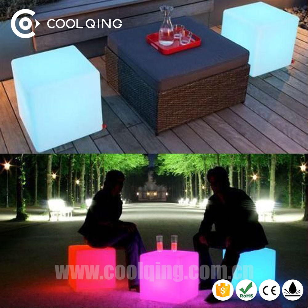 Size 50*50*50 cm Manufacture Plastic LED Cube Chair