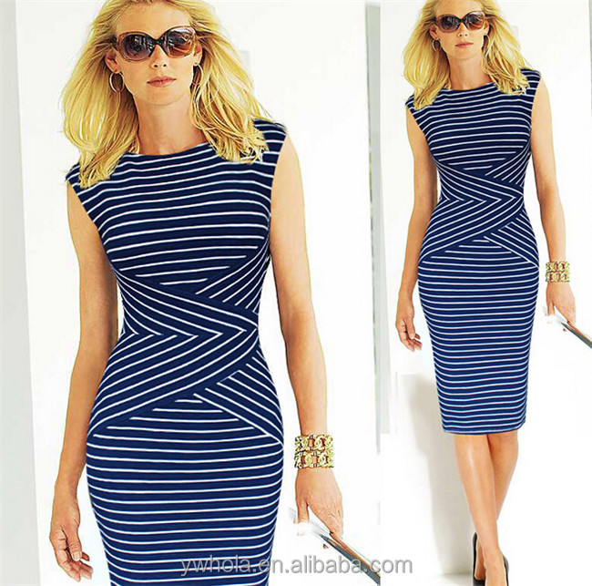 China Supplier Cheap Stock Dress Women Elegant OL Stripe Party Dress