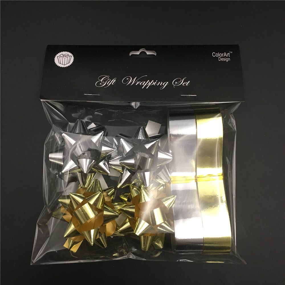Cheap gift packaging silver gold metallic finish ribbon confetti bows