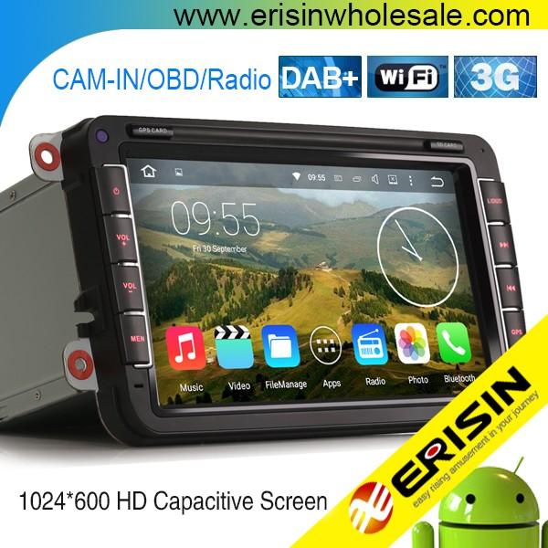 "Erisin ES4842V 8"" 2 Din Car Multimedia Player 3G WiFi GPS DVR for Touran"