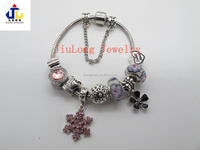 alloy charm bracelet women fashion bracelet with murano glass bead PD0102013