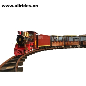 Amusement theme Park outdoor track train for adult and kids/kiddie mini train/electric mini train with smoking and music