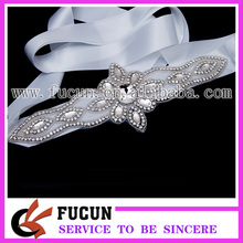 wholesale bridal fascinator glass rhinestone applique sash for wedding decorations