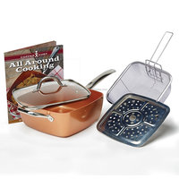 9.5'' inch 6 in1Copper Chef Cookware Set of Deep Squre Fry Pan Set With Lid With Fry Basket & Steamer