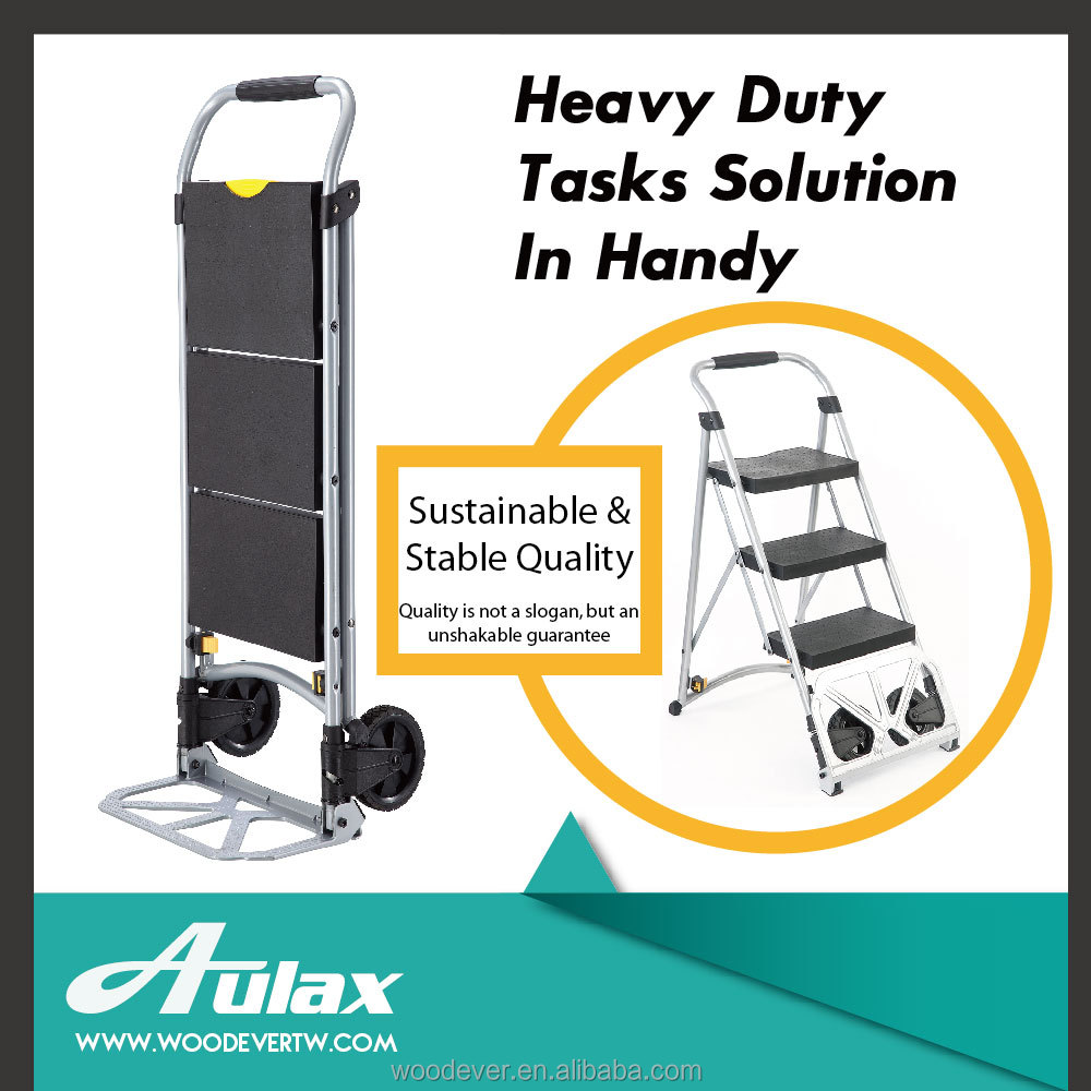 Folding aluminum step ladder trolley dolly for moving furniture