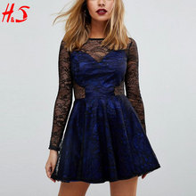 2018 The New Fashion Sexy Navy Blue Floral Lace Dress Patterns Short Tight Mini Prom Skater Dress