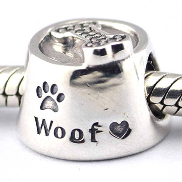 Jewelry bead Sterling S925 Silver Charms Woof With Paw Print for European Bracelets DIY Making 2016 Autumn