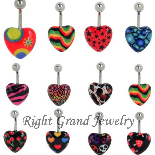 China Wholesale Unique Heart Shaped Navel Jewelry Navel Piercing