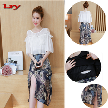 Maternity Nursing Dress For Pregnant Women Clothing 2017 Summer Fashion Chiffon Breastfeeding Skirt Pregnancy Clothes Lactation