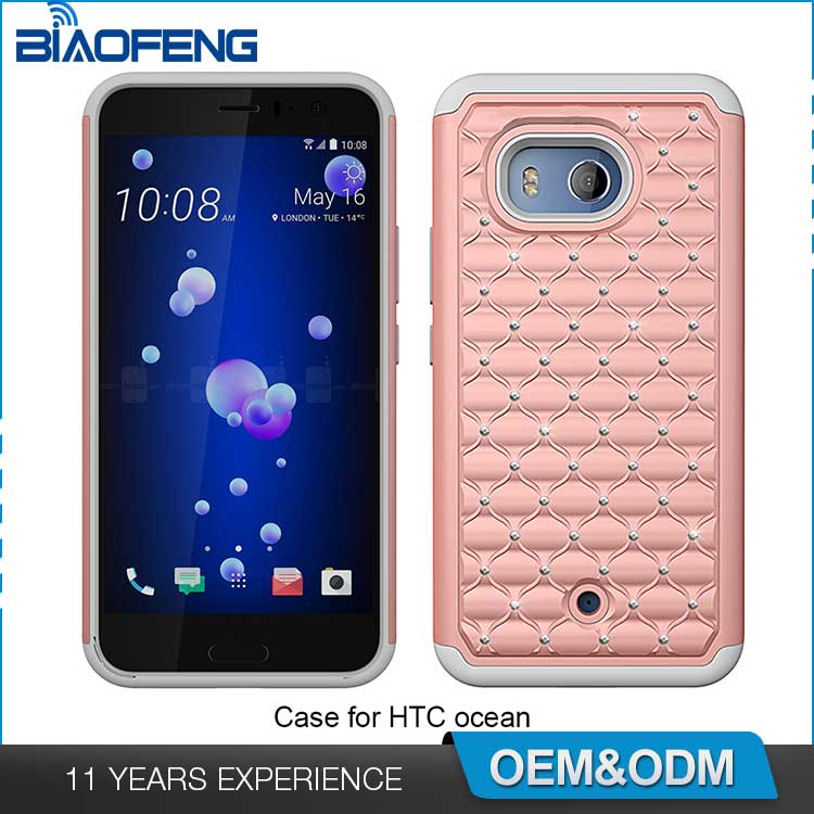Wholesale mobile phone accessories durable layers fashion combo diamond bling phone case for htc u11 ocean