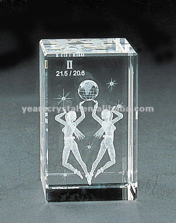 pure crystal cube laser girl for birthday gift engraved (R-0110))