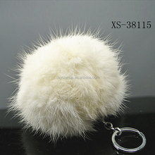 BSCI and AVON Certification factory hot selling real fur keychain with white color, pompom keychain