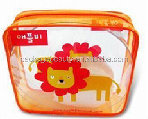 Non-toxic eco-friendly safe colorful cute printing clear PVC plastic toy packaging bag for kids