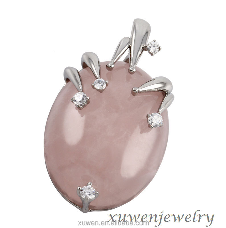 2014 wire wrap oval natural stone rose quartz 316l stainless steel pendant with CZ