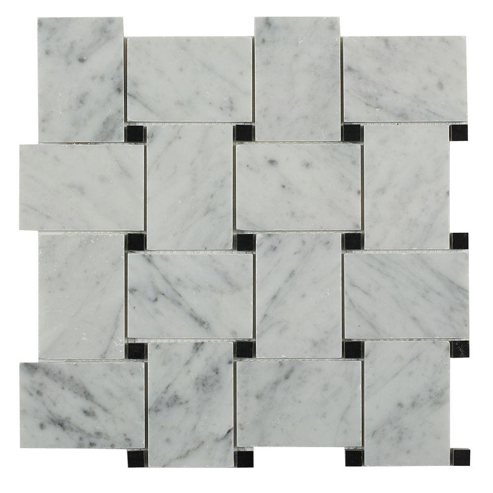 Italy Bianco Carrara White Basketweave Honed Marble Mosaic Tile With Black Marquina Dots