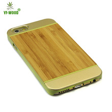 Wooden bamboo metal casefor iphone, wooden metal cover for iphone 6, metal case for iphone