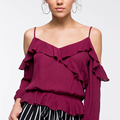 Customize Women Ruffle Cold Shoulder Blouse Tops
