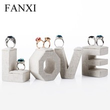 FANXI Manufacturer Romantic LOVE Letter Wedding Ring Display Jewelry Stand Sets Wood Jewlry Display