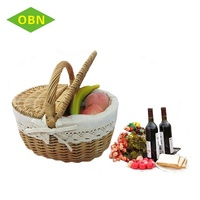 Wholesale handwork empty fruit basket small wicker picnic basket with lid