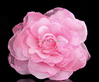 Extra Large Fabric Flower With Organza Trim For Brooch Accessories,Decorative Flower For Clothing Embellishment