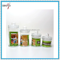 wholesale popular beautiful glass candy jar