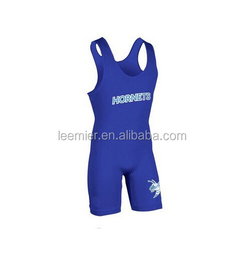 Women's custom blue color wrestling wear/singlet