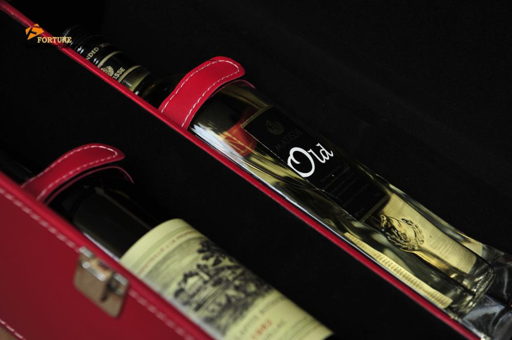 Chinese suppliers of new luxury high quality leather wooden goods double bottle wine box