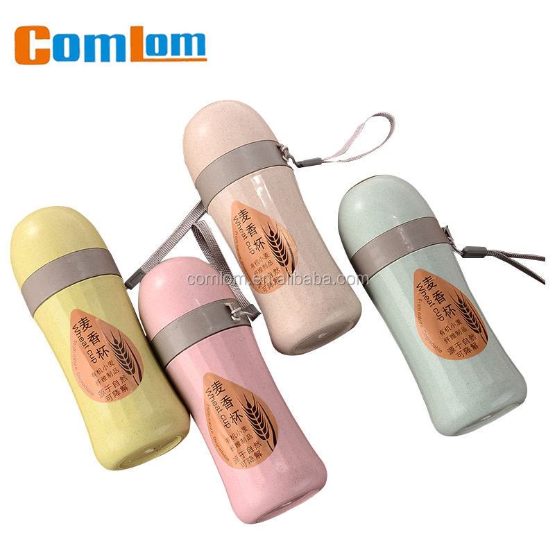 CL1C-GA804 Wheat Comlom Natural Wheat Straw Bottle Portable Glass Drinking Bottle