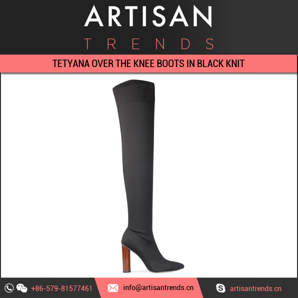 Stunning Collection of Tetyana Over The Knee Boots In Black Knit