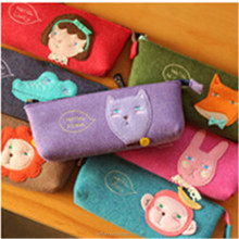 Cartoon style School promotional zipper Student Pen Pencil Case felt Stationery Bag