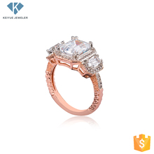More style Beautiful white zircon and rose gold plated zodiac rings