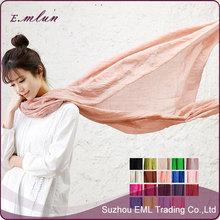 Frayed Edges Solid Color Plain Women's Scarf Shawl Hijab Head Wrap