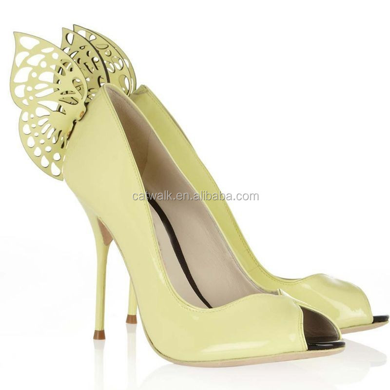 2015 New Coming Trendy Special Women Dress Shoes Intellectuality High Heel Shoes with A Butterfly Adornment