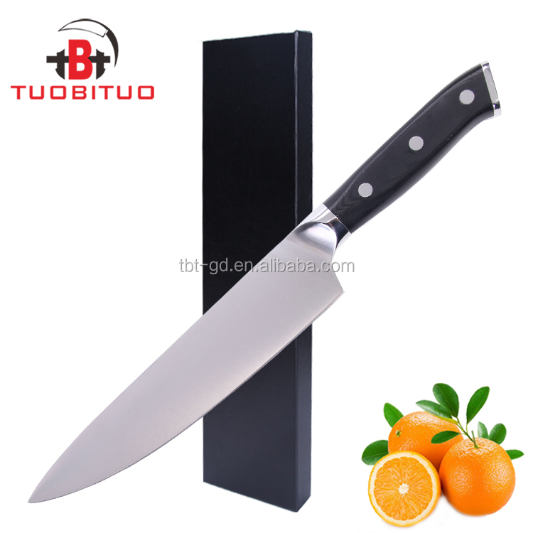 Excellent Black <strong>G10</strong> Handle Promotional 8 inch Chef Knife
