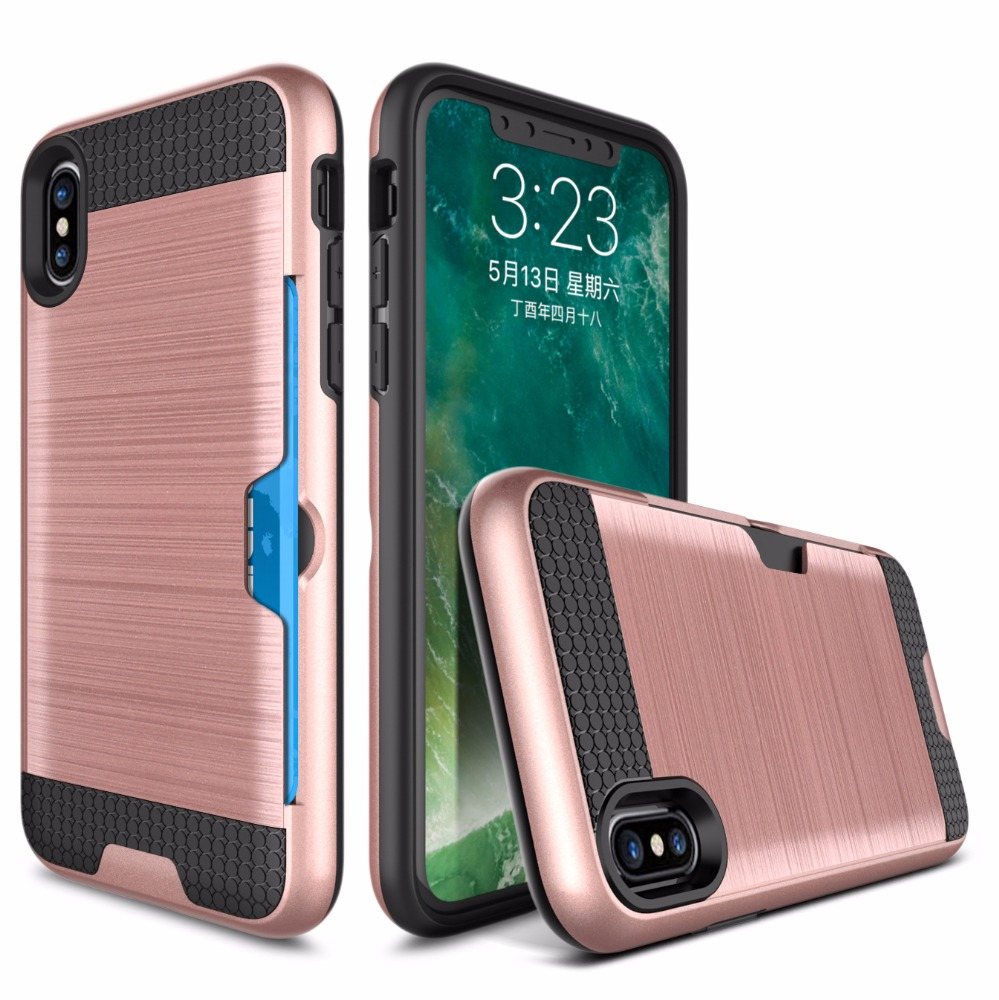 PC+TPU Wire drawing case for iphone x 2 in 1 Card slot case for apple 10