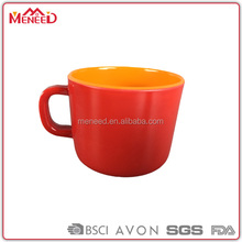 Double wall vibrant plastik cheap plastic kinds of plastic cup with handle mug