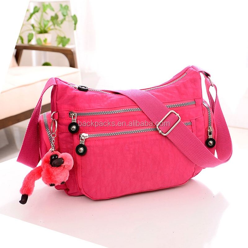 cool summer women's solid travel waterproof handbags shoulder messenger nylon bags