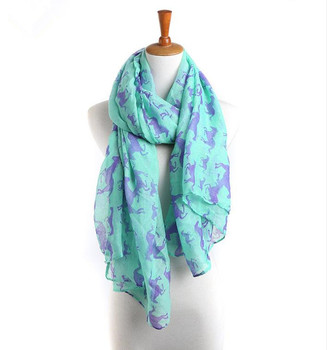 Wholesale Womens Lightweight Scarf Shawl with Unicorn Horse Print