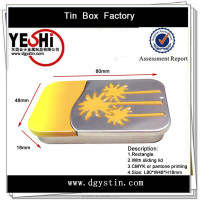 Hot sale rectangle metal tin box with sliding lid for packaging