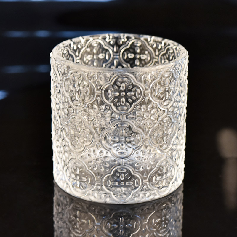Luxury cylinder embossed glass candle jar